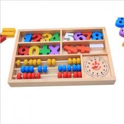 Обучающий набор: деревянные цифры, знаки, счёты и часы You De Le