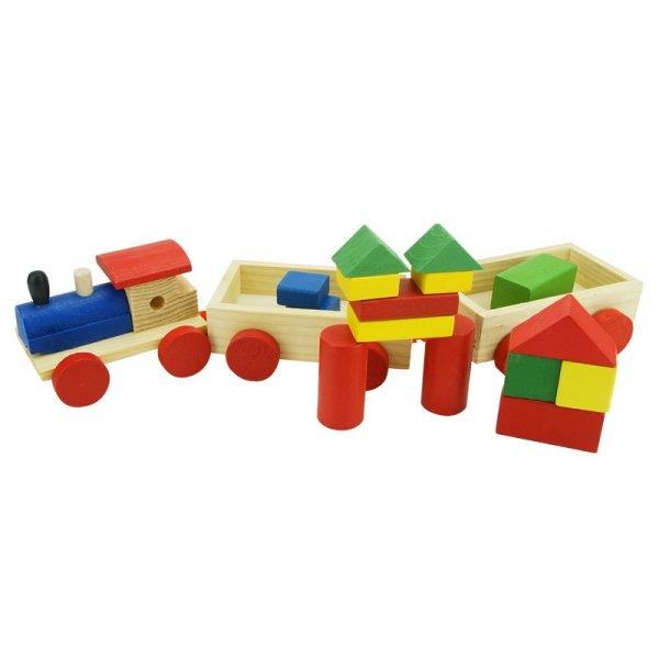 Деревянный паровоз с геометрическими фигурками Wood Toys
