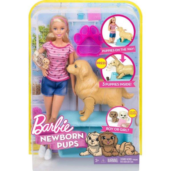 Barbie BE-FDD43 Кукла Mattel Barbie FDD43 Барби Набор «Кукла и собака с новорожденными щенками»