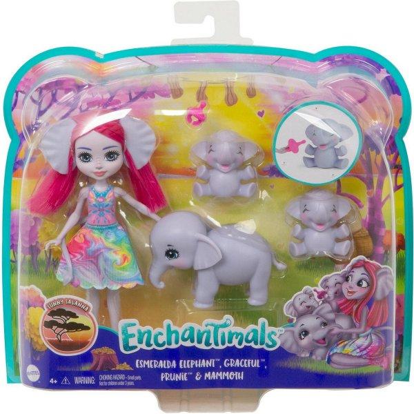 Игровой набор Enchantimals Эсмеральда Слонни с семьей, GTM30