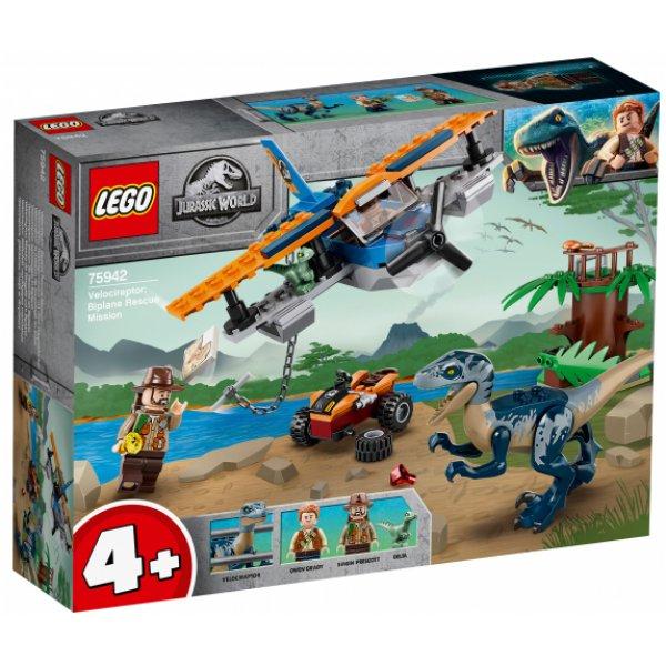 75942 Конструктор LEGO Jurassic World 75942 Велоцираптор: спасение на биплане