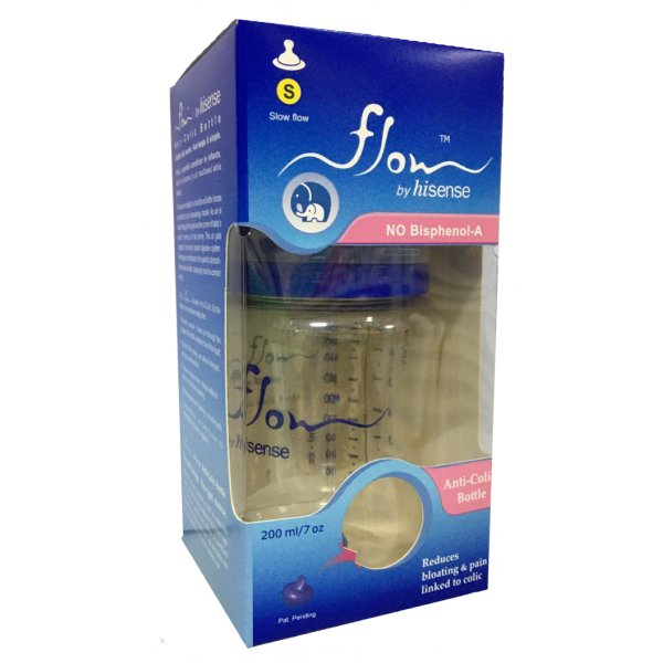 """01879 Бутылочка пластиковая """"Flow"""", антиколиковая, средний поток, 200 мл, от 3 до 6 месяцев (S)"""