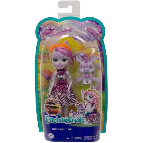 Кукла с питомцем Enchantimals GTM27 Зейди Зебра и Реф, 15 см